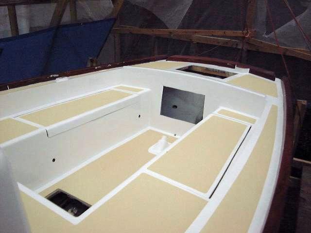 Pearson triton 381 glissando painting the deck for Boat non slip deck paint